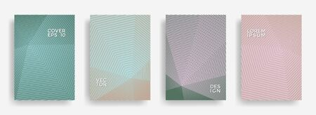 Elegant annual report design vector collection. Halftone stripes texture cover page layout templates set. Report covers geometric design, business booklet pages corporate backgrounds.
