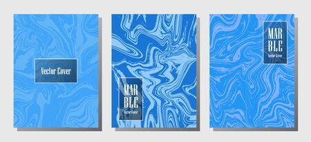 Abstract marble prints, vector cover design templates. Fluid marble stone texture iInteriors fashion magazine backgrounds  Corporate journal patterns set of liquid ink waves. Brochure covers set.