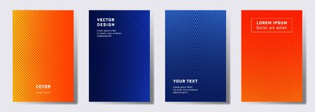 Dynamic cover templates set. Geometric lines patterns with edges, angles. Gradient poster, flyer, banner vector backgrounds. Line shapes patterns, header elements. Annual report covers. Illusztráció