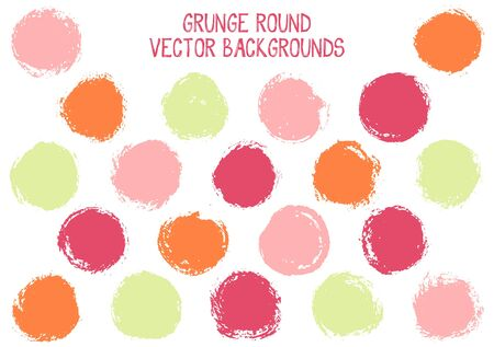 Vector grunge circles design. Vintage post stamp texture circle scratched label backgrounds. Circular icon, logo shape, oval button elements. Grunge round shape banner backgrounds set.