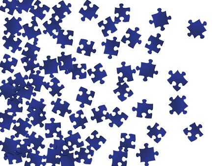Abstract crux jigsaw puzzle dark blue parts vector illustration. Group of puzzle pieces isolated on white. Strategy abstract concept. Jigsaw gradient plugins. Çizim