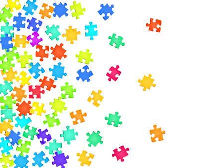 Game tickler jigsaw puzzle rainbow colors parts vector illustration. Top view of puzzle pieces isolated on white. Teamwork abstract concept. Connection elements. Ilustração
