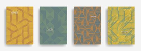 Modern  halftone shapes minimal geometric cover templates set graphic design.
