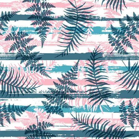 Cute new zealand fern frond and bracken grass over painted stripes seamless pattern design. South african forest foliage swimwear textile print. Stripes and tropical leaves illustration.