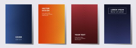Dynamic cover templates set. Geometric lines patterns with edges, angles. Digital poster, flyer, banner vector backgrounds. Line shapes patterns, header elements. Cover page layouts set.