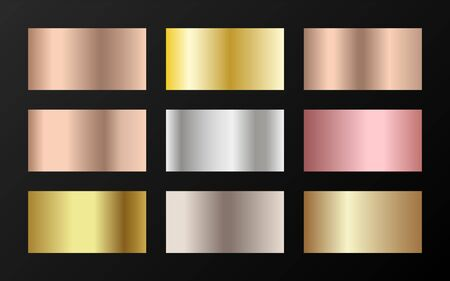 Trendy golden, silver, bronze, rose gold gradients. Metallic foil texture silver, steel, chrome, platinum, copper, bronze, aluminum, pink gold gradient swatches.  Shiny metallic swatches collection.