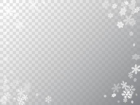 Winter snowflakes border minimal vector background.  Many snowflakes flying border design, holiday banner with flakes confetti scatter frame, snow elements. Frosty season symbols. Standard-Bild - 134794512