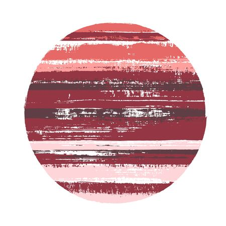 Hipster circle vector geometric shape with stripes texture of paint horizontal lines. Disk banner with old paint texture. Badge round shape circle logo element with grunge stripes background.