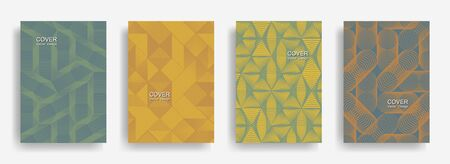 Tech  halftone shapes minimal geometric cover templates set graphic design. Halftone lines grid vector background of triangle, hexagon, rhombus, circle shapes. Future geometric cover backgrounds.