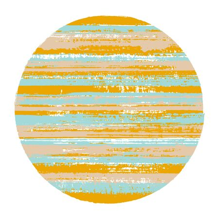 Vintage circle vector geometric shape with striped texture of ink horizontal lines. Disk banner with old paint texture.