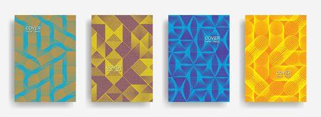 Tech  halftone shapes minimal geometric cover templates set graphic design. Halftone lines grid vector background of triangle, hexagon, rhombus, circle shapes. Classical geometric cover backgrounds. Illusztráció