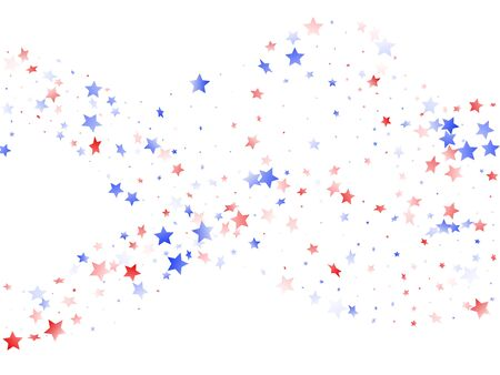 American Presidents Day stars background. Confetti in US flag colors for Independence Day.  Gradient red blue white stars on white American patriotic vector. 4th of July stardust confetti.