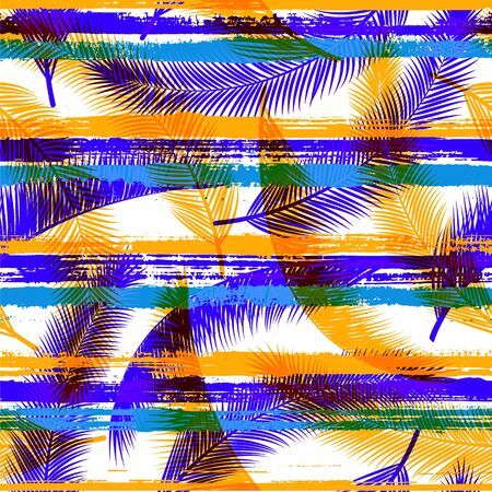 Decorative coconut palm leaves tree branches over painted stripes seamless pattern design. South african jungle foliage beach fashion fabric print. Stripes and tropical leaves illustration. Иллюстрация