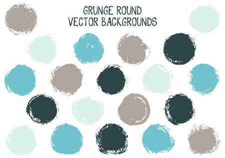 Vector grunge circles design. Dry post stamp texture circle scratched label backgrounds. Circular tag icon, chalk logo shape, round button elements. Grunge round shape banner backgrounds set.
