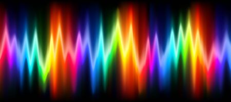 Neon music equalizer, magnetic or sonic wave techno vector background. Sound audio wave frequency flow. Neon effect rainbow waveform, sonic equalizer visual illuminated dynamic flow. Voice diagram.