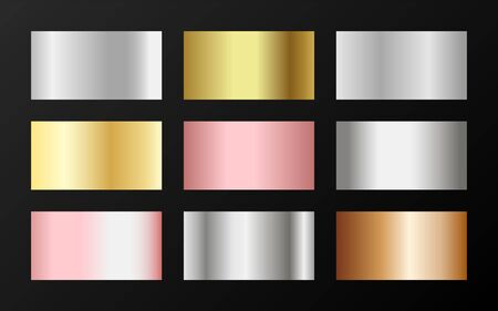 Glossy golden, silver, bronze, pink gold gradients. Metallic foil texture silver, steel, chrome, platinum, copper, bronze, aluminum, rose gold gradient swatches.  Shiny metallic swatches collection.