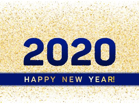 2020 Happy New Year banner with gold glitter rich glossy confetti. Geometric frame with glittering gold sparkle tinsels. New Year premium vector template. Festive holiday card, banner or party poster Illustration