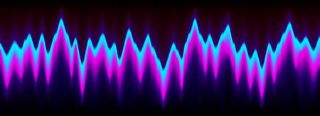 Neon music equalizer, magnetic or sonic wave techno vector background. Sound audio wave frequency flow. Neon effect waveform, sonic equalizer visual wavelength purple blue dynamic flow. Voice diagram.