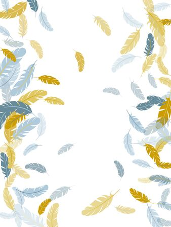 Festive silver gold feathers vector background. Plumage glamour fashion shower decor. Smooth plumelet tribal ornate graphics. Detailed majestic feather on white design.