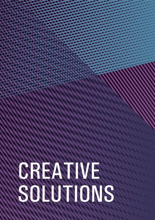 Geometric shapes with lines texture vector cover. Futuristic journal mockup. Trendy stationery folder background. Cover with logo identity space. Stylish magazine vibrant leaflet.