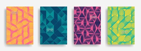 Tech  halftone shapes minimal geometric cover templates set graphic design. Halftone lines grid vector background of triangle, hexagon, rhombus, circle shapes. Typical geometric cover backgrounds. Illusztráció