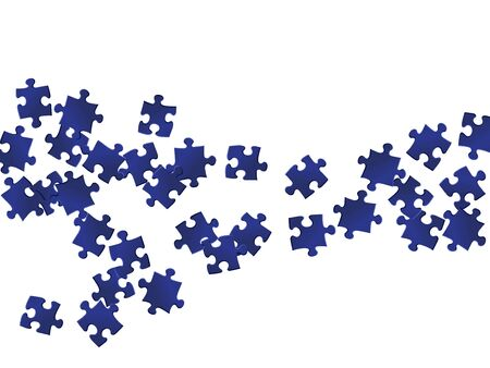 Abstract conundrum jigsaw puzzle dark blue parts vector illustration. Top view of puzzle pieces isolated on white. Problem solving abstract concept. Jigsaw pieces clip art.