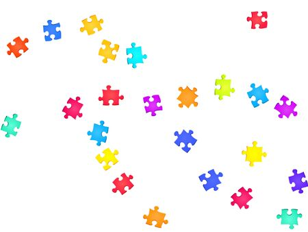 Game crux jigsaw puzzle rainbow colors pieces vector background. Scatter of puzzle pieces isolated on white. Strategy abstract concept. Jigsaw pieces clip art.