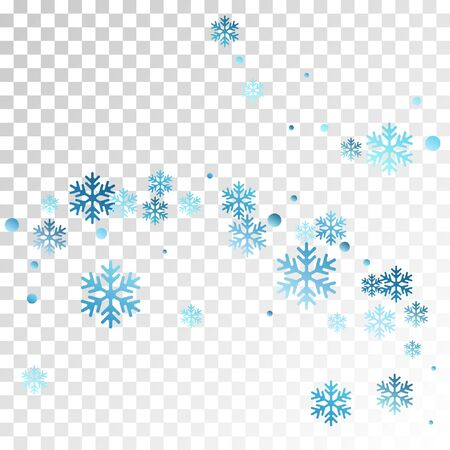 Crystal snowflake and circle shapes vector illustration. Chaotic winter snow confetti scatter card background. Flying gradient snow flakes background, frosty water crystals confetti.