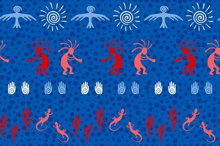 Mexican native american vector ethnic tribal motifs seamless pattern. Mythical design with lizard, Kokopelli fertility deity, sun, eagle, cacti. Mexican healing deity pattern. Illusztráció