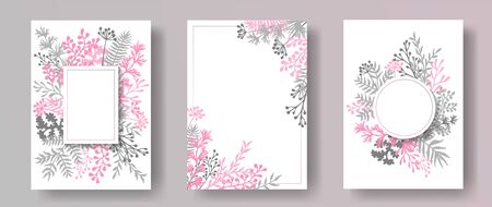 Wild herb twigs, tree branches, leaves floral invitation cards templates. Herbal corners romantic cards design with dandelion flowers, fern, mistletoe, olive branches, sage twigs.