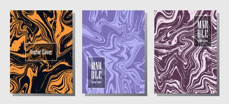 Geometric marble prints, vector cover design templates. Fluid marble stone texture iInteriors fashion magazine backgrounds  Corporate journal patterns set of liquid oil waves. Invitation cards set.