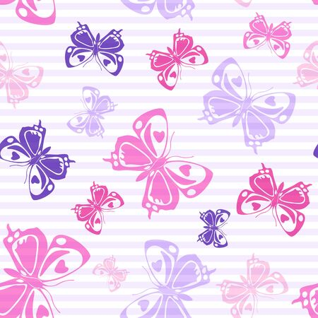 Flying cute butterfly silhouettes over striped background vector seamless pattern. Cartoon textile print design. Stripes and butterfly winged insect silhouettes seamless pattern. Stock Illustratie