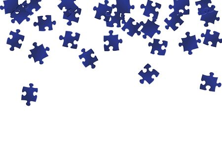 Business crux jigsaw puzzle dark blue pieces vector background. Top view of puzzle pieces isolated on white. Success abstract concept. Jigsaw pieces clip art.