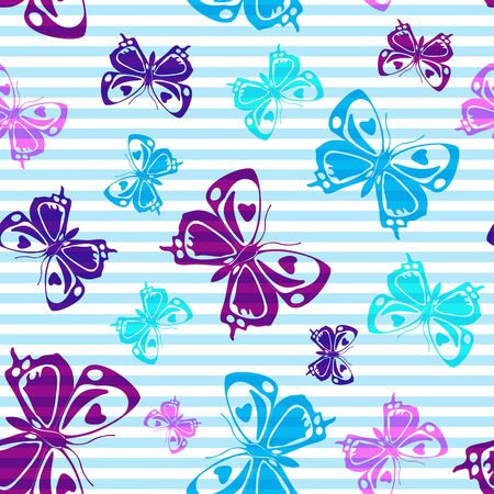 Flying beautiful butterfly silhouettes over horizontal stripes vector seamless pattern. Girlish fashion textile print design. Lines and butterfly winged insect silhouettes seamless illustration. Stock Illustratie