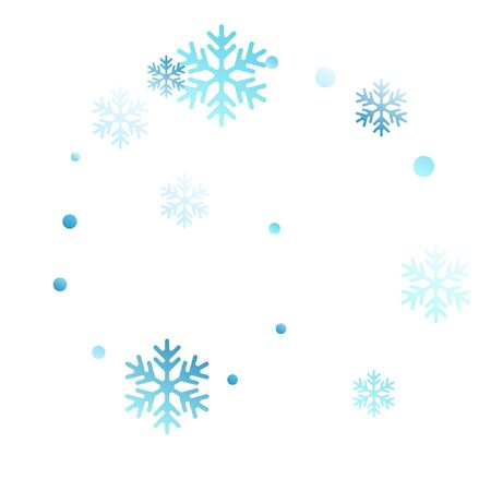 Crystal snowflake and circle elements vector illustration. Unusual winter snow confetti scatter card background. Flying gradient snow flakes background, frosty water crystals confetti.