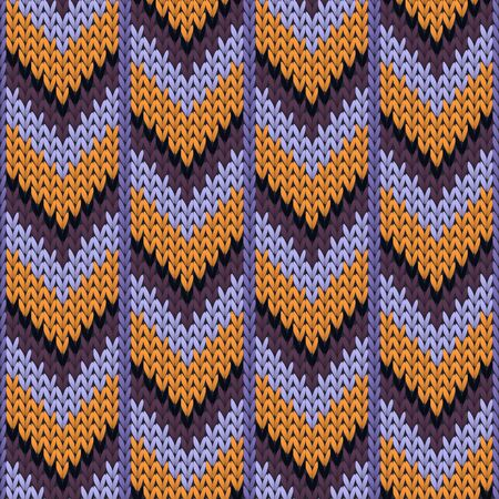 Cotton downward arrow lines knitted texture geometric vector seamless. Blanket knitting pattern imitation. Norwegian style seamless knitted pattern. Handicraft backdrop. Vettoriali