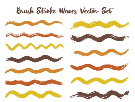 Abstract brush stroke waves vector set. Hand drawn gold brown brushstrokes, ink splashes, watercolor splats, hand painted curls. Interior colors scheme swatches. Wavy stripes vector set.