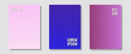 Cool flyers set, vector halftone poster backgrounds. Minimal booklets. Zigzag halftone lines wave stripes backdrops. 2d grid composition. Geometric lines shapes patterns set for flyer design.