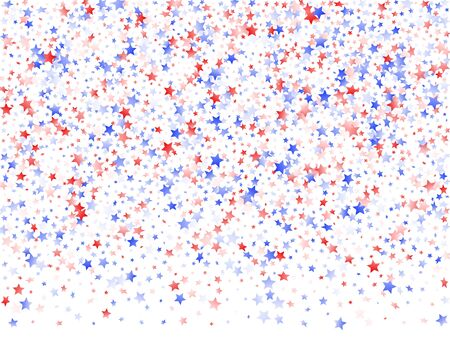 American Patriot Day stars background. Holiday confetti in USA flag colors for Presidents Day.  Navy red blue white stars on white American patriotic vector. 4th of July holiday stardust.