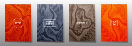 Dynamic cover templates set. Fluid curve shapes geometric lines patterns. Abstract poster, flyer, banner vector backgrounds. Lines texture, header title elements. Cover page templates.