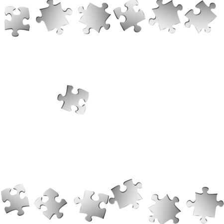 Business crux jigsaw puzzle metallic silver pieces vector background. Group of puzzle pieces isolated on white. Strategy abstract concept. Jigsaw match elements.