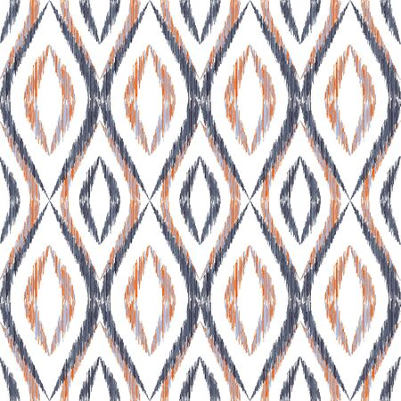 Ikat ogee seamless vector pattern design. Ethnic fabric print geometric ikat pattern. Ogee seamless repeating background. Tribal motifs ikat textile print design. Pillow ornament.