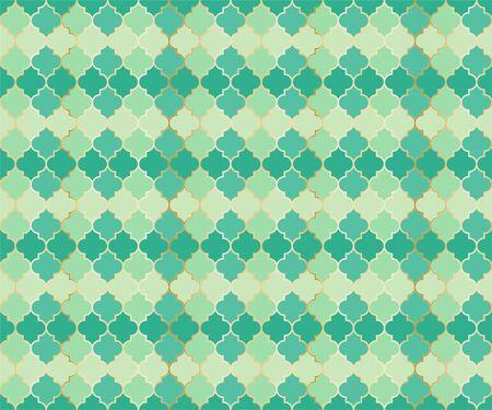 Middle East Mosque Vector Seamless Pattern. Ramadan Mubarak muslim background. Traditional Ramadan mosque pattern with gold grid mosaic. Rich islamic window grid design of lantern shapes tiles.