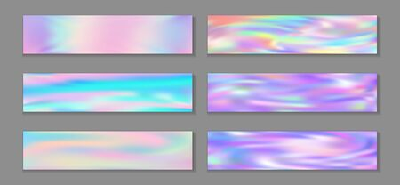 Hologram minimal banner horizontal fluid gradient princess backgrounds vector set. Pastel neon holo texture gradients. Fluid liquid effect abstract princess backgrounds.