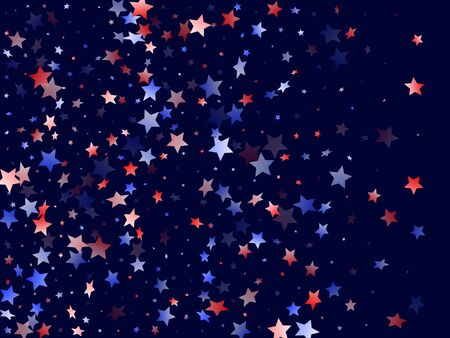 American Presidents Day stars background. Holiday confetti in USA flag colors for Presidents Day.  Gradient red blue white stars on dark American patriotic vector. July 4th holiday stardust. Ilustração
