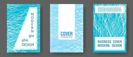 Brochure layout design templates. Blue sea water waves texture backdrops. Corporate finance book cover. Fluid buzzing wavy noise ripple texture. Business brochure vector cover layouts set.