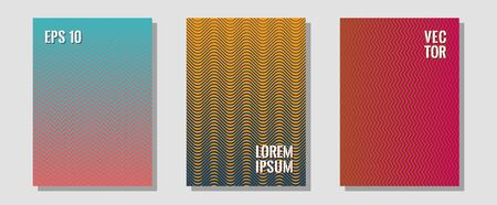 Abstract shapes of multiple lines halftone patterns. Trendy magazines. Zigzag halftone lines wave stripes backdrops. Vibrant tech mockups. Cool abstract shapes gradient texture backgrounds.