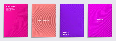 Flat cover templates set. Radial semicircle geometric lines patterns. Cool backgrounds for notepads, notice paper covers. Line shapes patterns, header elements. Cover page templates. Çizim