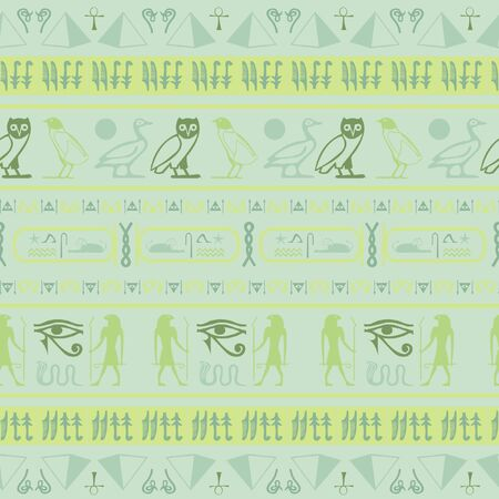Ancient egypt writing seamless background. Hieroglyphic egyptian language symbols grid. Repeating ethnical fashion design for wrapping paper.
