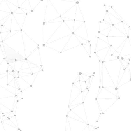 Block chain global network technology concept. Network nodes greyscale plexus background. Wireframe minimal design. Global data exchange blockchain vector. Circle nodes and line elements. Illusztráció